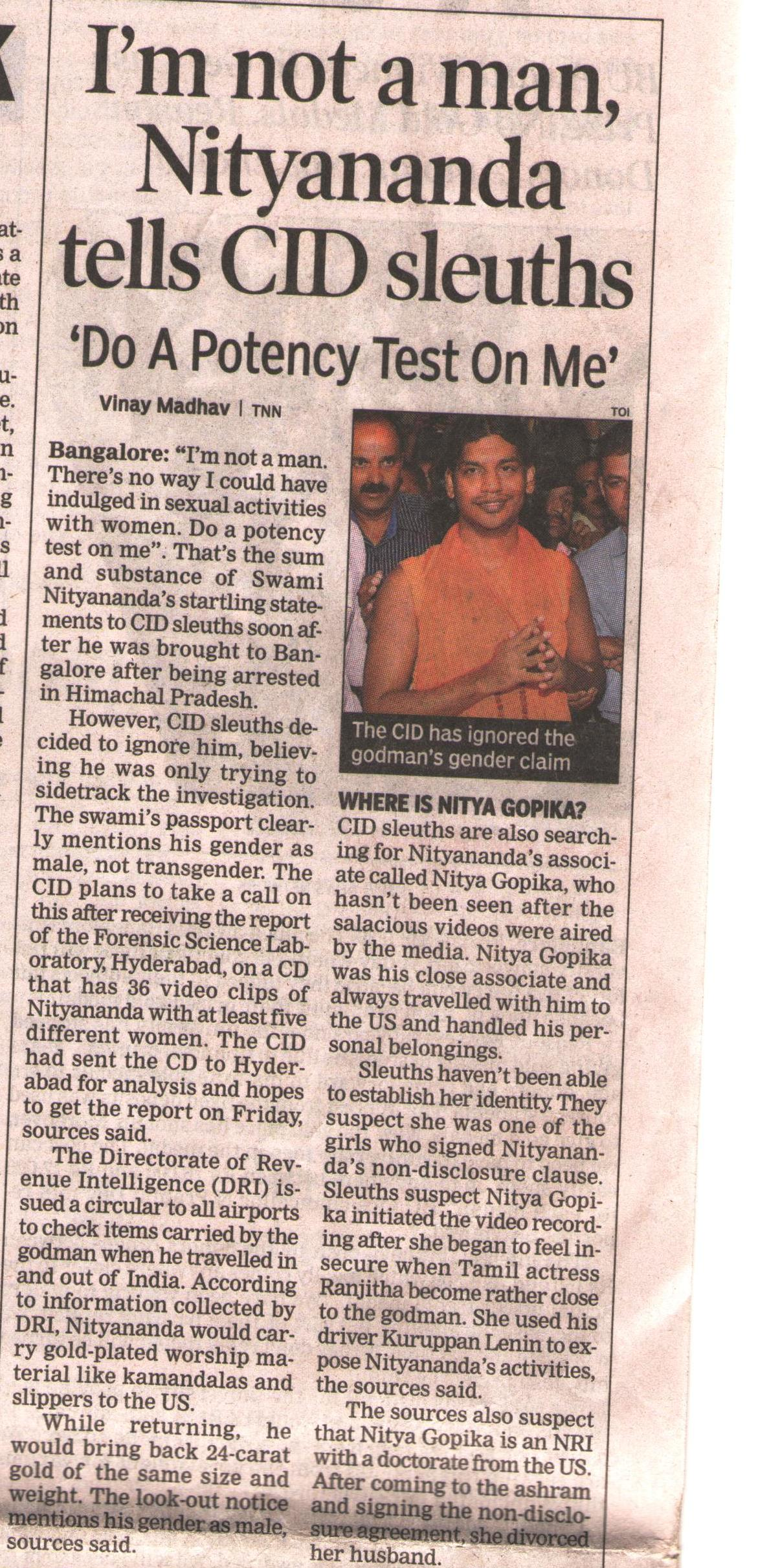 Times Of India_Apr 30 2010_Pg 1_I m not a man Nithyananda tells CID sleuths Do a potency test on me