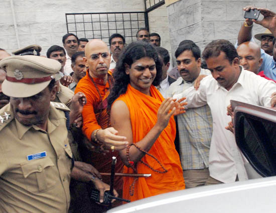 Swami Nityananda comes out from Dist Jail in Ramanagar on Saturday as High Court granted conational bail. -KPN