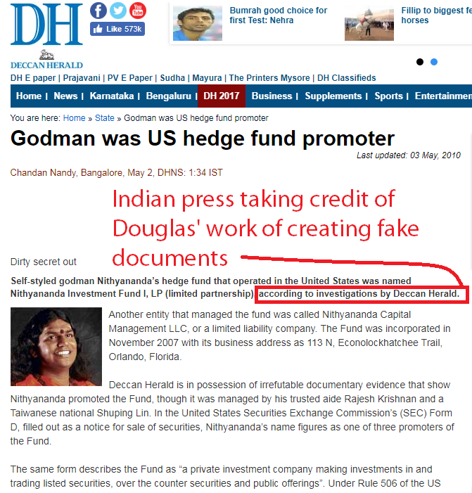 """. Some presstitutes claimed this to be their original """"investigation"""" and published this article http://www.deccanherald.com/content/67215/godman-us-hedge-fund-promoter.html"""