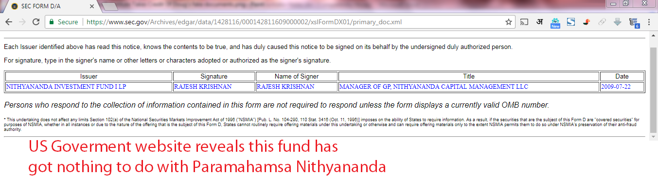 US Government SEC website reveals this entity has got nothing todo with Paramahamsa Nithyananda