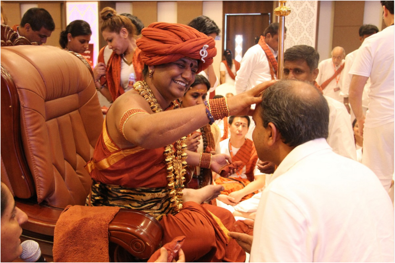 Swamiji personally initiating devotees into truths about life and mystical experiences