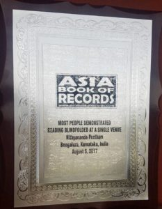 Asia Book of Records -certificate for largest number of people reading blindfolded at a single venue