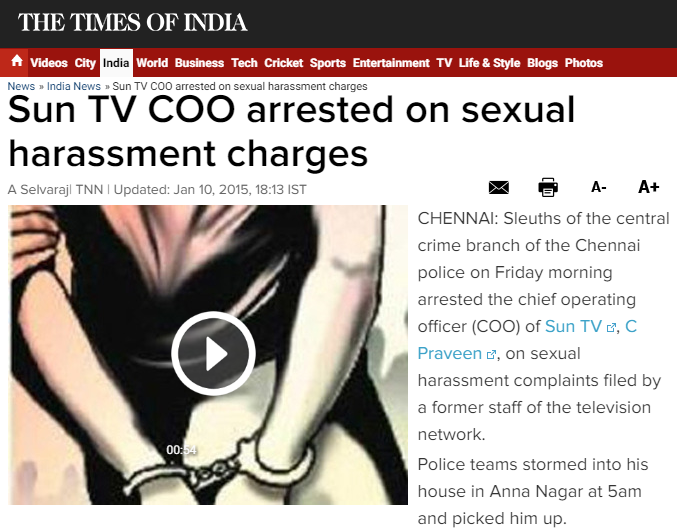 https://timesofindia.indiatimes.com/india/Sun-TV-COO-arrested-on-sexual-harassment-charges/articleshow/45647953.cms