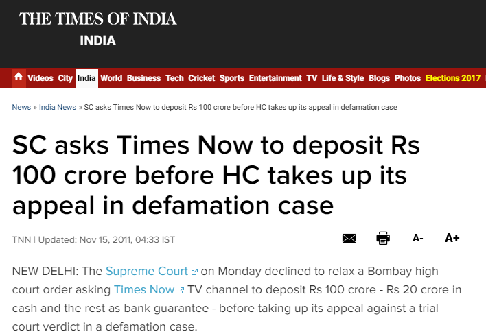 https://timesofindia.indiatimes.com/india/SC-asks-Times-Now-to-deposit-Rs-100-crore-before-HC-takes-up-its-appeal-in-defamation-case/articleshow/10734614.cms